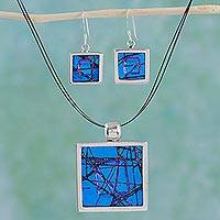 Dichroic art glass jewelry set, 'Ocean Window' - Dichroic art glass jewelry set