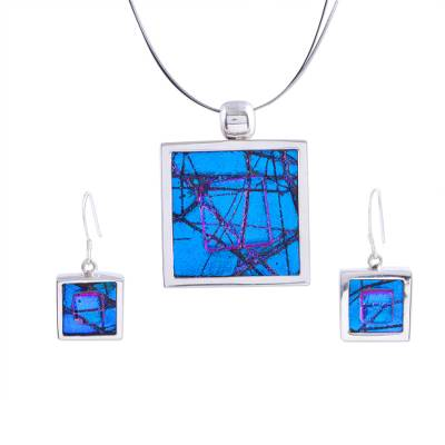 Dichroic art glass jewelry set