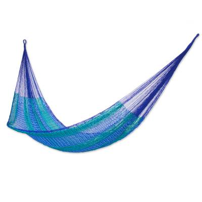 Hammock, 'Cool Lagoon' (double) - Handmade Striped Rope Hammock (Double)