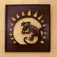 Iron wall adornment, 'Gecko in the Window' - Handmade Steel Lizard Wall Art Sculpture