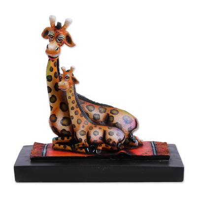 Sculpture, 'Giraffe Maternal Love'