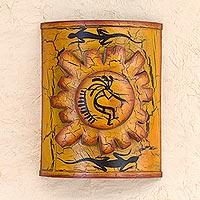 Iron candleholder, 'Song for the Sun' - Hand Made Kokopelli Lizard Wall Sconce