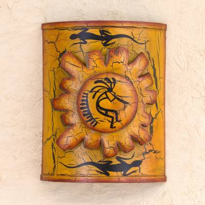 Iron candleholder, 'Song for the Sun' - Hand Made Kokopelli Lizard Wall Sconce
