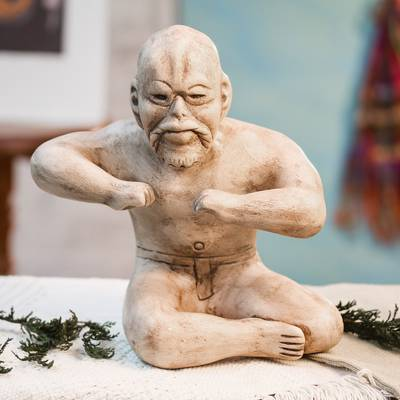 Ceramic figurine, 'Olmec Wrestler' - Ceramic figurine