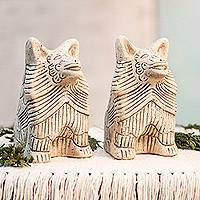 Ceramic statuettes, 'Coyote Battalion' (pair) - 2 Ceramic Aztec Replica Wild Dog Statuettes Mexico (Pair)