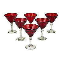 Martini glasses, 'Ruby Red' (set of 6) - Red Hand Blown Martini Glasses Set of 6 Clear Stems Mexico