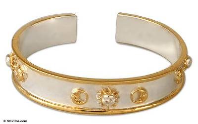 Gold Accented Sun and Moon Cuff Bracelet