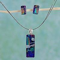 Dichroic art glass jewelry set, 'Confetti' - Dichroic art glass jewelry set
