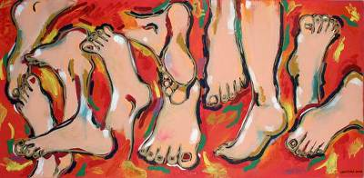 'Many Feet' - People and Portraits Red Surrealist Painting