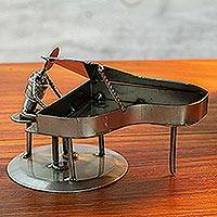 Iron statuette, 'Rustic Piano Man' - Artisan Crafted Recycled Metal and Car Part Rustic Sculpture
