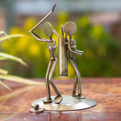 Iron statuette, 'Rustic Golfer' - Recycled Metal Auto Parts Golf Sculpture