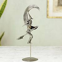Iron statuette, 'Rustic Witch' - Nahncrafted Recycled Metal Halloween Sculpture