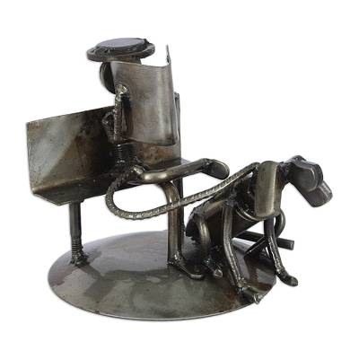Auto part sculpture, 'Rustic Friends' - Auto Part Sculpture Recycled Metal Art Man and Dog Mexico