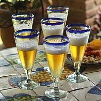 Beer glasses, 'Bohemia' (set of 6)