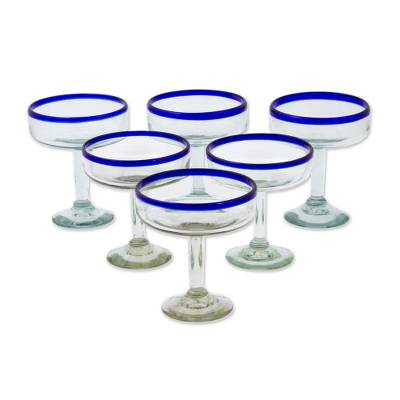 Margarita glasses, 'Happy Hour' (large, set of 6)  - Hand Blown Glass Margarita Glasses Set of 6 Blue Rim Mexico