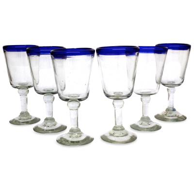 Wine glasses, 'Chardonnay' (set of 6) - Hand Blown Wine Glasses Set of 6 Blue Rim Goblets Mexico