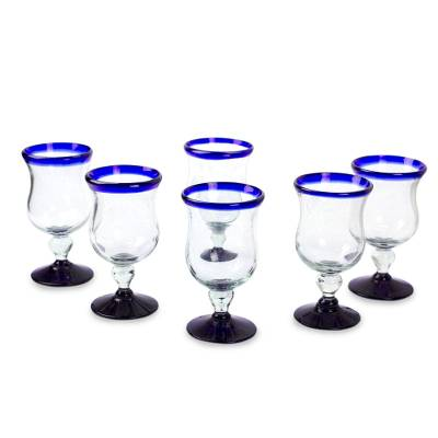 Water glasses, 'Spring' (set of 6) - Collectible Handblown Glass Wine Goblets Drinkware Set of 6
