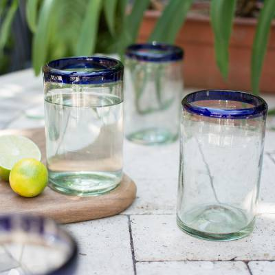 Blown glass drinking glasses, 'Cobalt Classics' (set of 6) - Fair Trade Blue Handblown Glass Tumbler Drinkware Set of 6