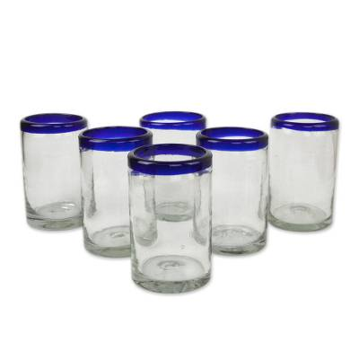 Blown glass drinking glasses, 'Classic' (set of 6) - Fair Trade Blue Handblown Glass Tumbler Drinkware Set of 6