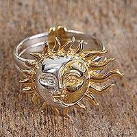 Gold accented sterling silver cocktail ring, 'Shadows on the Moon' - Sun and Moon Gold Plated Cocktail Ring