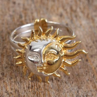 Sun and Moon Gold Plated Cocktail Ring