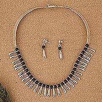 Obsidian jewelry set, 'Chantico Goddess' - Handcrafted Taxco Silver and Onyx Choker Necklace