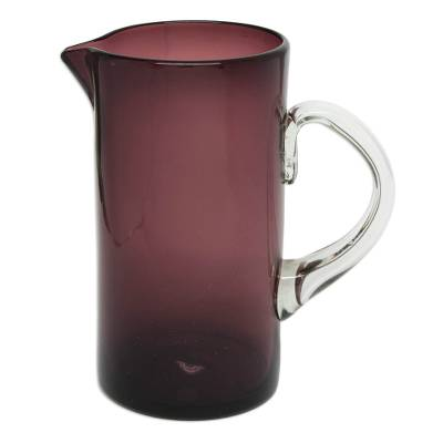Pitcher, 'Amethyst' - Glass Pitcher Purple Hand Blown Tall 66 Ounce Mexico