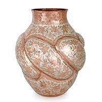 Copper and silver vase,