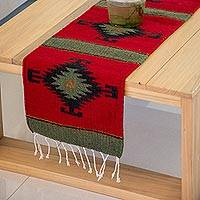 Zapotec wool runner, 'Forest Spirit' (1x3.5) - Red and Black Handcrafted Zapotec Area Rug (1x3.5)