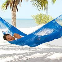 Hammock, 'Glowing Sapphire' (double) - Solid Rope Hammock from Mexico (Double)