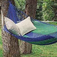 Hammock, 'Island Siesta' (double) - Unique Striped Rope Hammock (Double)