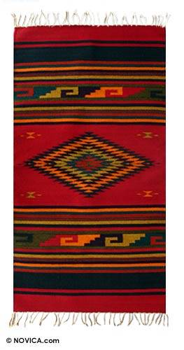 Zapotec wool rug, 'Nature's Colors' (2.5x5) - Unique Mexican Geometric Wool Area Rug (2.5x5)