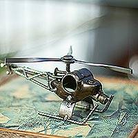 Auto part statuette, 'Rustic Helicopter' - Hand Made Recycled Metal Eco Sculpture from Mexico