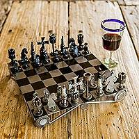 Auto part chess set, 'Recycling Challenge' - Unique Recycled Auto Part Chess Set