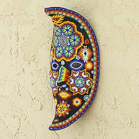 Beadwork mask, 'The Moon's Healing Magic' - Handcrafted Huichol Papier Mache Mask from Mexico