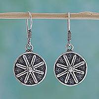 Sterling silver flower earrings, 'Lucky Flower' - Fair Trade Floral Sterling Silver Dangle Earrings