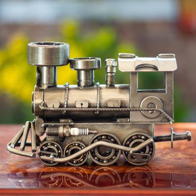 Auto part sculpture, 'Rustic Locomotive' (11 inch) - Unique Recycled Metal Rustic Train Sculpture (11 Inch)