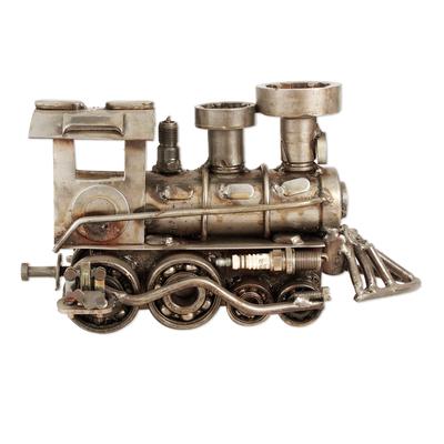 Unique Recycled Metal Rustic Train Sculpture Mexico