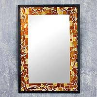 Mirror, 'Sunshine' - Sun Stained Glass Wall Mirror Mexico Art