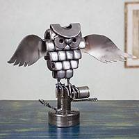Iron statuette, 'Rustic Horned Owl'