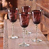 Etched wine glasses, 'Grape Blossoms' (set of 4) - Collectible Handblown Glass Recycled Purple Wine Goblets