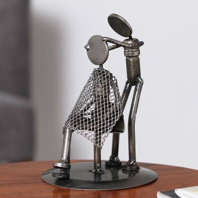 Auto part statuette, 'Haircut' - Metal Barber Sculpture Recycled Auto Parts Handmade Mexico
