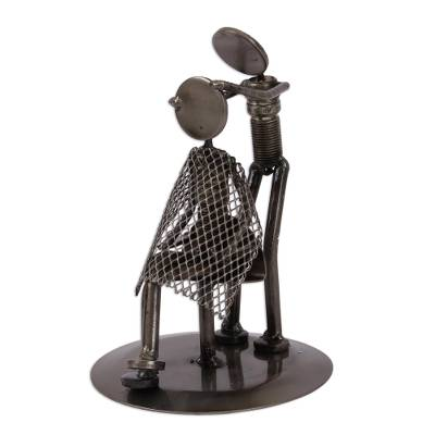 Metal Barber Sculpture Recycled Auto Parts Handmade Mexico