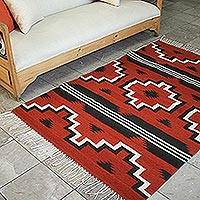 Zapotec wool rug, 'Red Fire Crosses' (4x6) - Zapotec Area Rug (4x6)