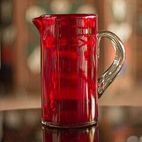 Pitcher, 'Ruby Red' - Mexican Hand Blown Glass Modern Pitcher