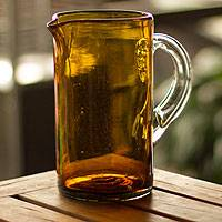 Pitcher, 'Amber' - Gold Handblown Glass Recycled Pitcher Decanter Serveware