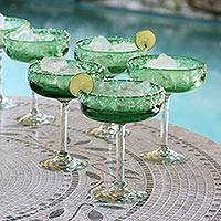 Margarita glasses, 'Lime Twist' (set of 6) - Hand Blown Margarita Glasses Set of 6 Green Stemware Mexico