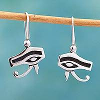 Sterling silver dangle earrings, 'Eyes' - Egypt Inspired Artisan Crafted Mexican Taxco Silver Earrings