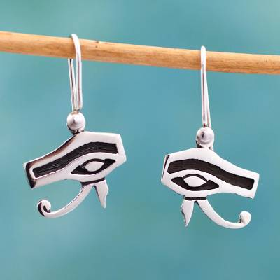 Sterling silver dangle earrings, Eyes