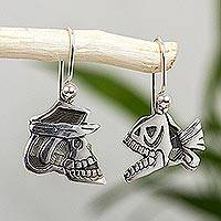 Sterling silver dangle earrings, Skull and Fish